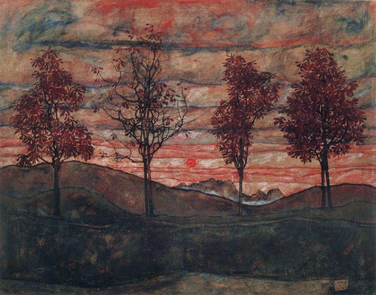 Cuatro árboles por Egon Schiele