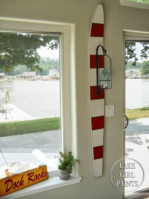 Lake Girl Paints: Red and White Striped Water Ski with Mason Jar Lantern (HoH157)