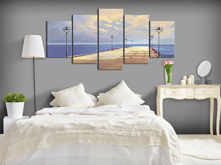 Seaside landscape is great choice if you are looking for something classical yet cozy. This one for examle is recommended for romantic and marine interiors