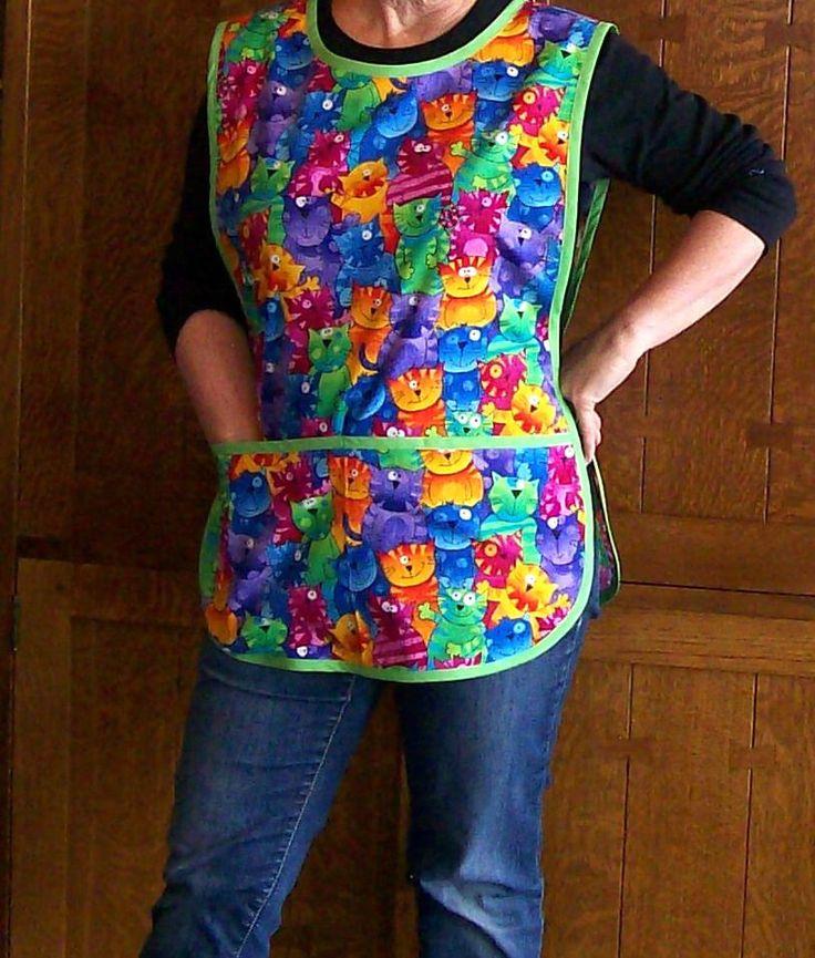 Colorful Cats Cobbler Apron - Teacher Apron with Cats - Retro Cobbler Apron