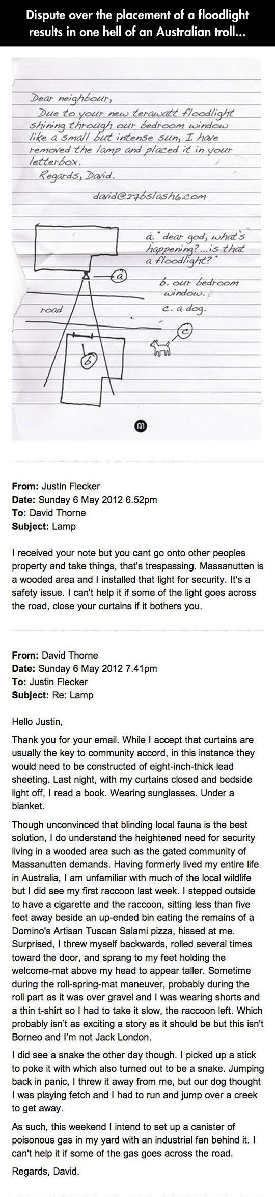 Part 1 funny-Australian-troll-floodlight-email-neighbour
