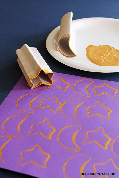 Ramadan and Eid Al-Fitr Kids Crafts: Crescent and Star Cardboard Tube Stamps - Hello Holy Days!