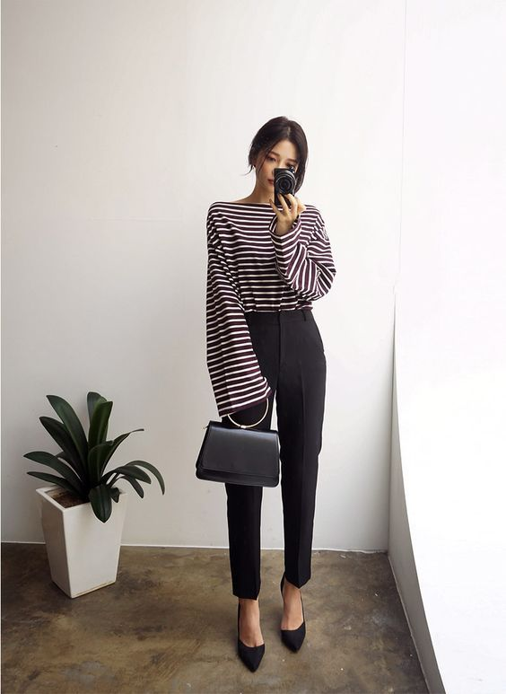 @evatornado stripped top and black pants - minimal style outfit