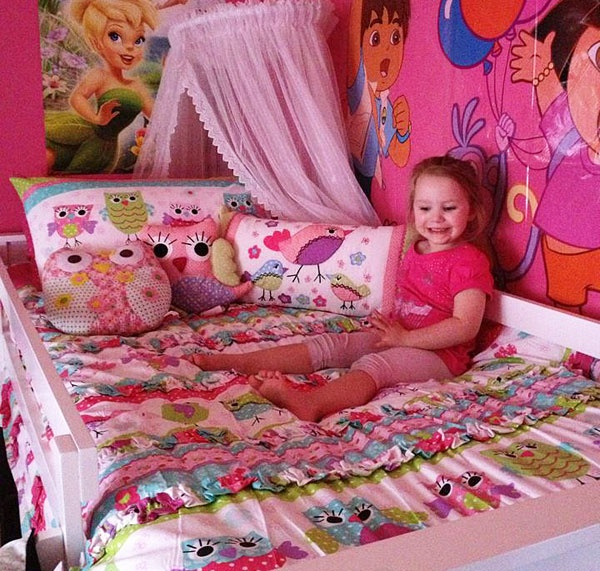 This Macy Quilt Cover Set was the top selling design for 2012. Doesn't Brydee look happy with her bed?! Pic thanks to Nicky Kresinger.