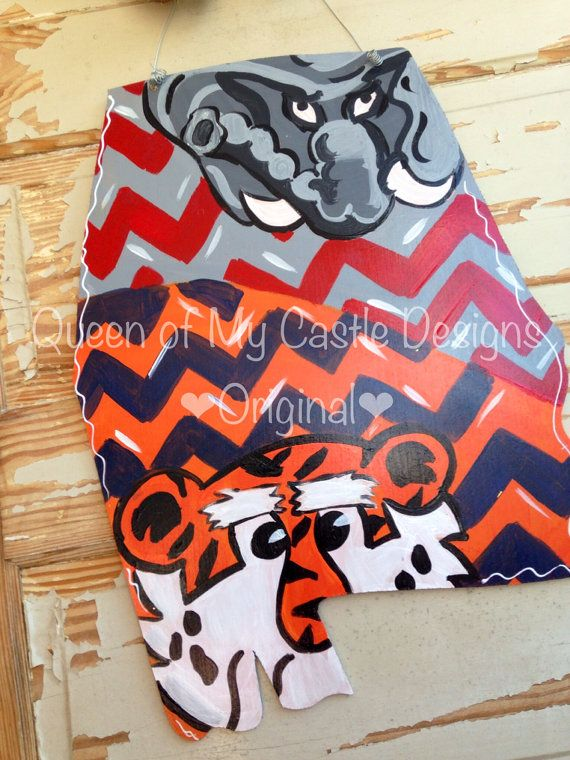 House Divided State of Alabama/ Auburn Door by queensofcastles
