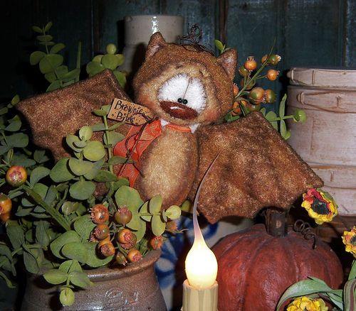 "Primitive Halloween Brown Vampire Bat Bear 5"" Doll Vtg Patti's Ratties Ornie"