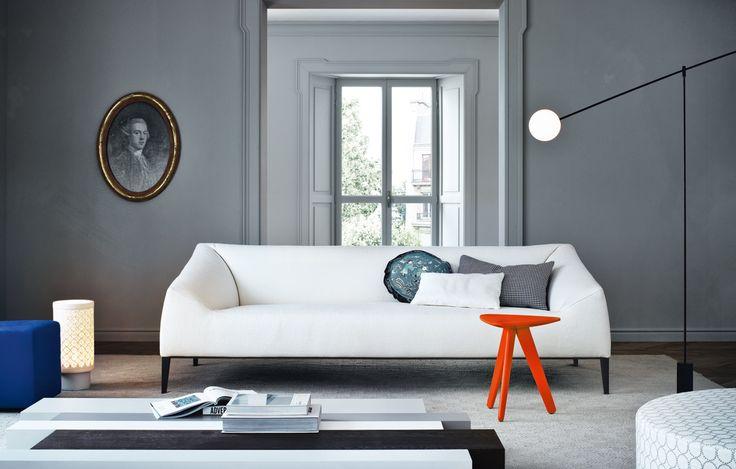 LOVE LOVE this for a living room!Poliform Uk, Wood Products, Interiors Design, Grey Wall, Living Room, Poliform Carmel, Carmel Sofas, Jeanmari Massaud, Jeans Mary Massaud