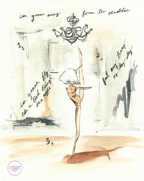 Chandelier Sia Dance Watercolor Art Print 8x10 by PinkPuddleStudio, $15.00 www.pinkpuddlestudio.com jimigem