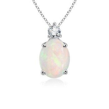 Angara Floating Three Stone Cabochon Opal Journey Dangle Pendant hEw6y5s