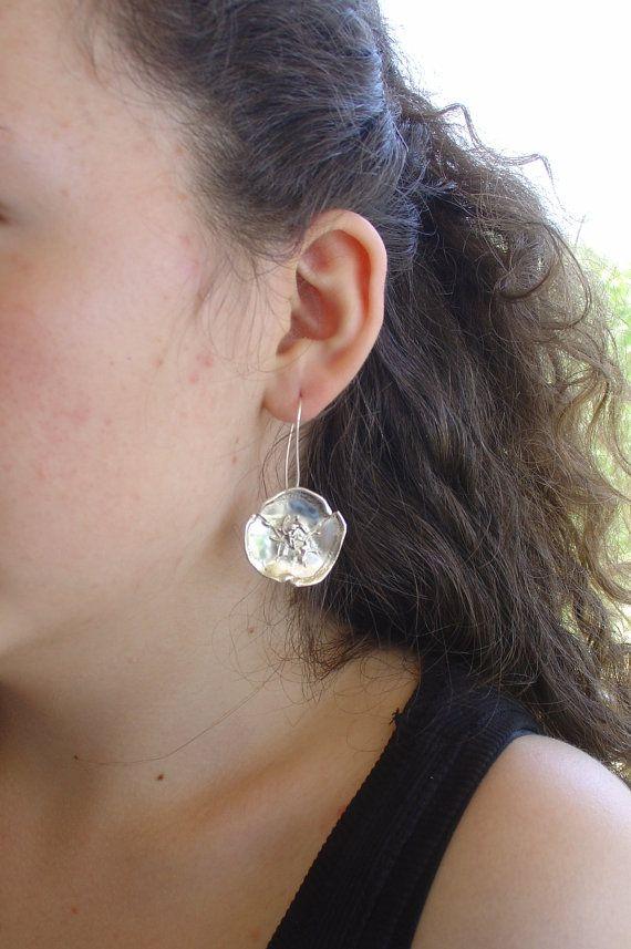 EARRINGS - handmade silver earrings PANSY FLOWER hanging