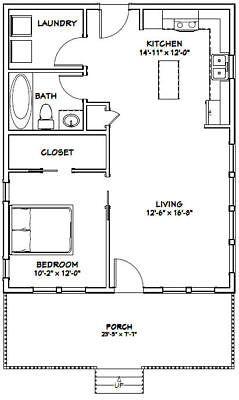 24x30 House 1 Bedroom 1 Bath Pdf Floor Plan 720