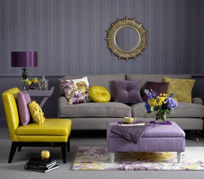 Les Papiers Peints Design En 80 Photos Magnifiques Salon Gris Et Jaune Salon Gris Meuble Deco