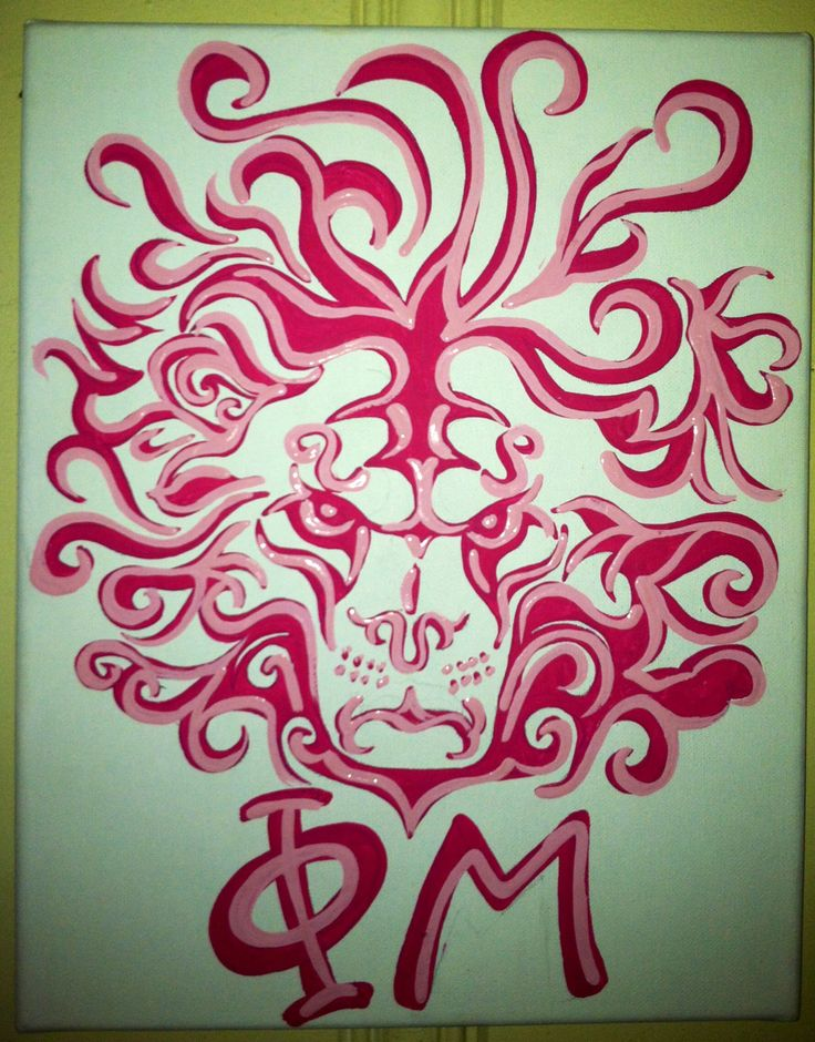 Fabulous lion head for Phi Mu on canvas. Comment if interested!