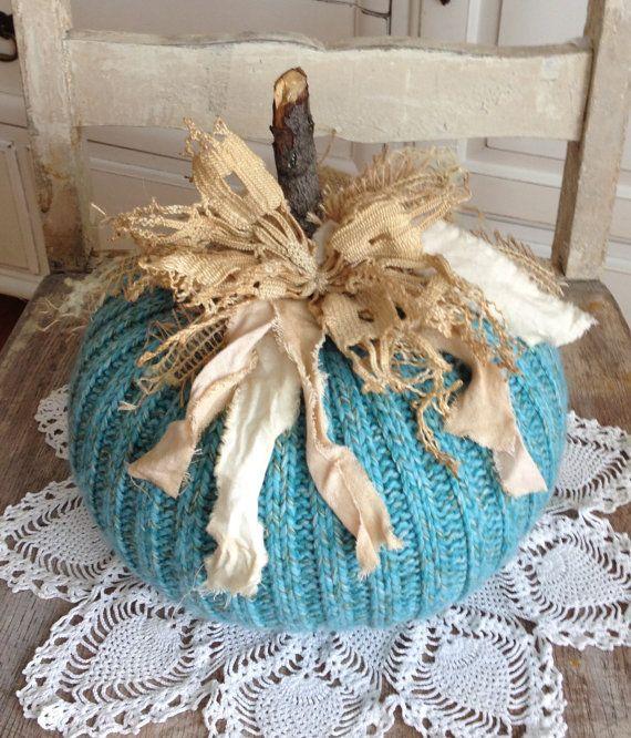 Fabric Pumpkin Sweater Pumpkin Aqua by TatteredTreasures1 on Etsy