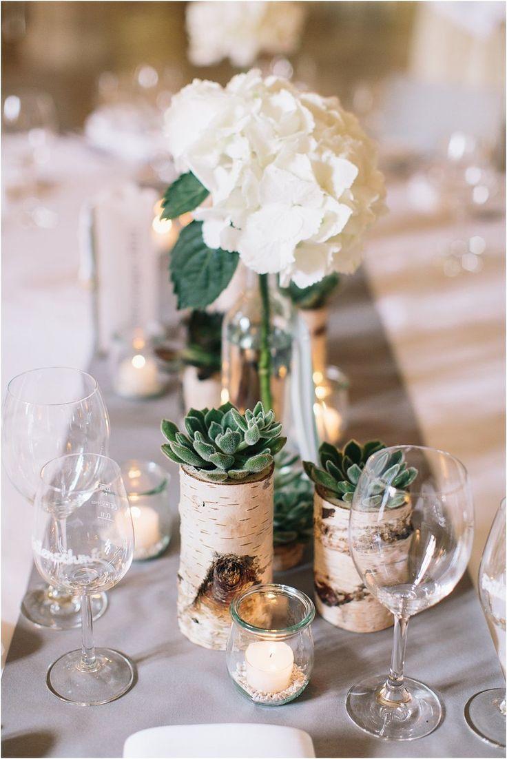 Ongelooflijke decoratie met berk en vetplanten, in de Residenzschloss Bad Urach …  – Dekoration Hochzeit