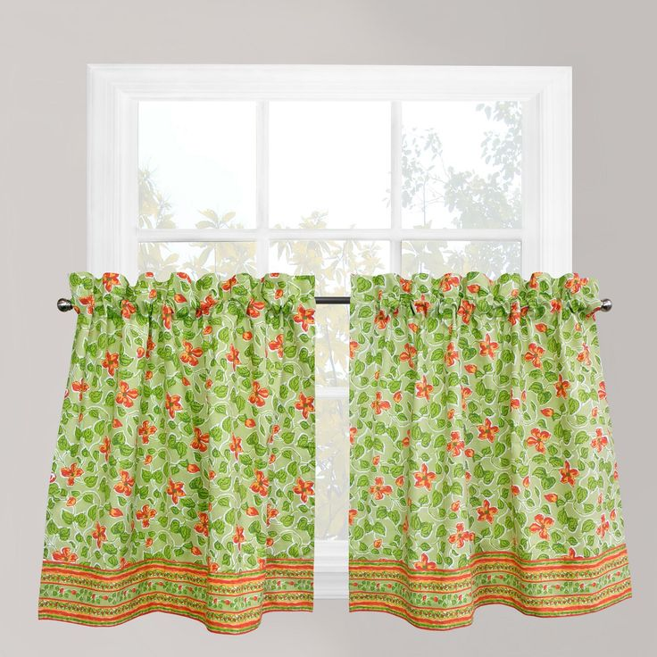 Park B. Smith Boutique Flowers Tier Kitchen Window Curtain Set, Orange
