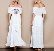 SOUTHERN GIRL FASHION Embroidered Maxi Dress White Off Shoulder Long Draped Gown