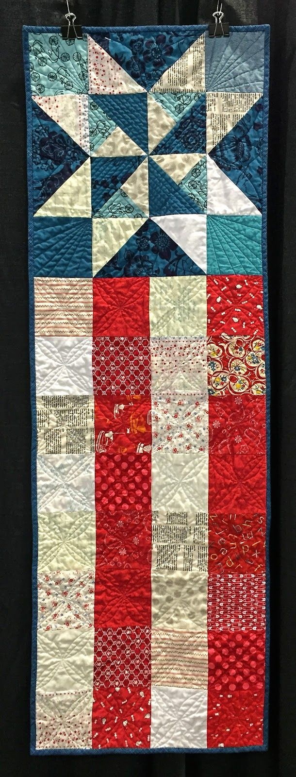 Patriotic star quilt banner. Oklahoma City Winter Quilt Show 2015. OKC Modern Quilters' Guild.