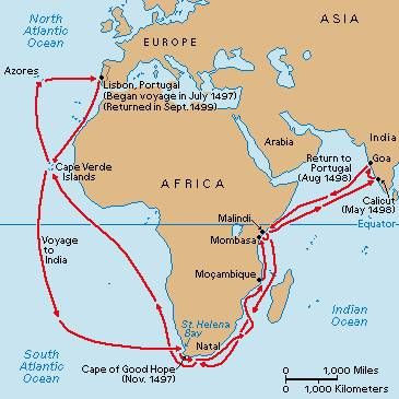 1498-Vasco da Gama ontdekt zeeroute naar India-