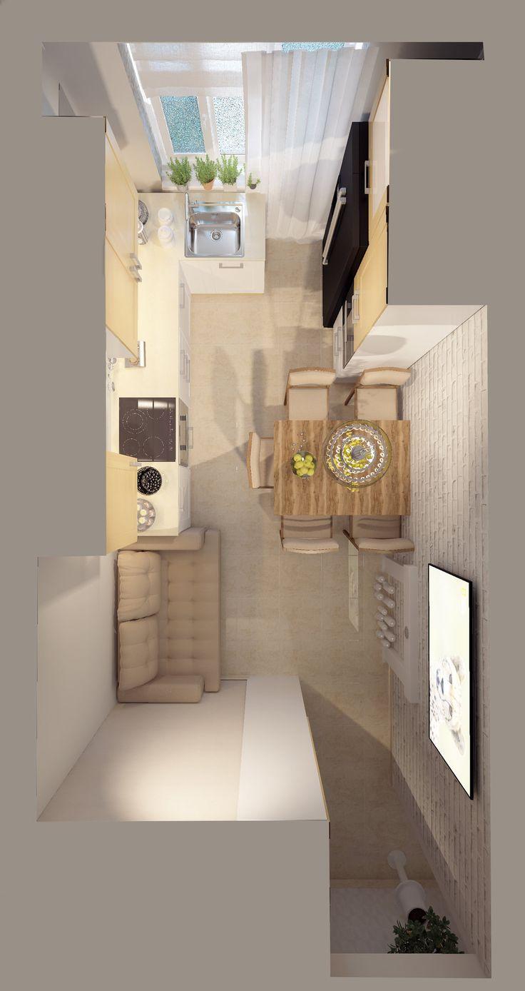 Кухня. Дизайн-проект. Бежевый диван на кухне. Бежевый пол из плитки на кухне. Вид сверху.