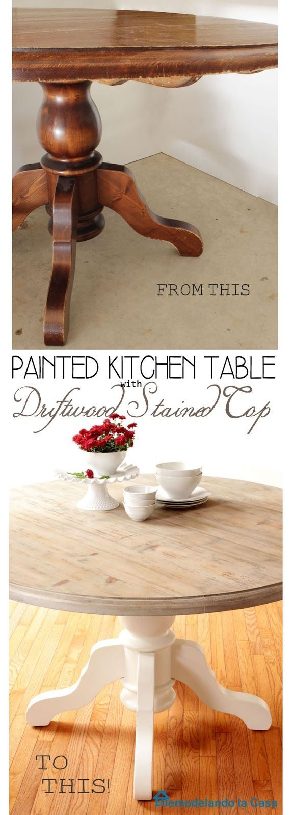 driftwood kitchen table top makeover.... Rustoleum wood stains in driftwood color