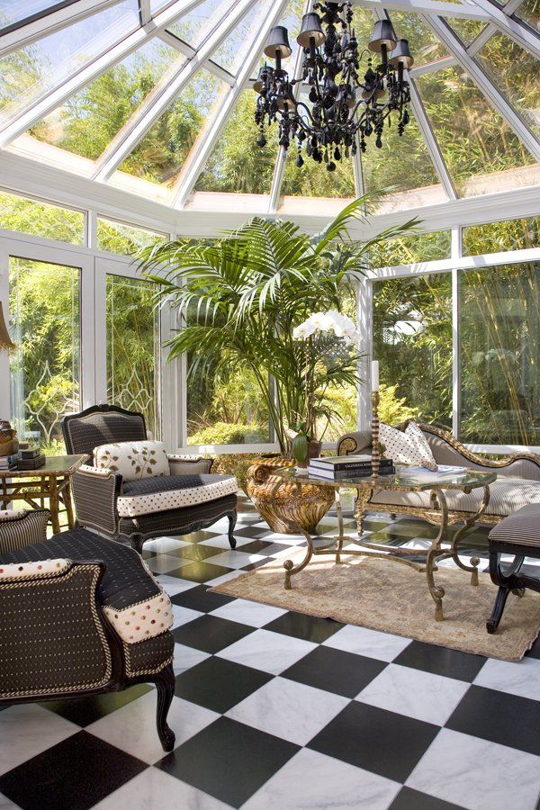Eclectic Porch By Get Back JoJo   Love Black And White Floor In Sunroom