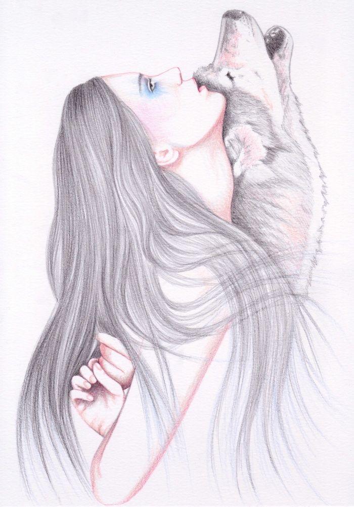 Девушка и волк картинки нарисованные, летием мужчине