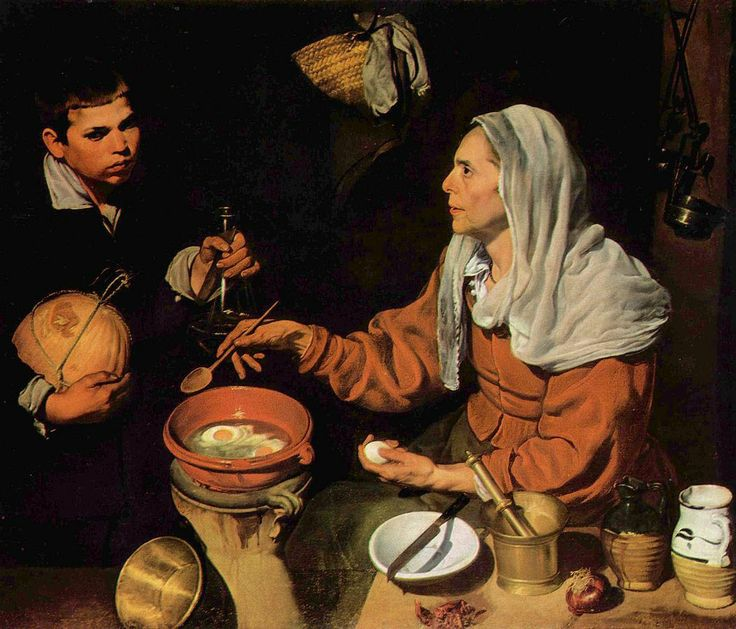 """Diego Valezquez """"Old Woman Frying Eggs"""" 1618, oil on canvas National Gallery, Edinburgh. Example of baroque art focused on daily life."""
