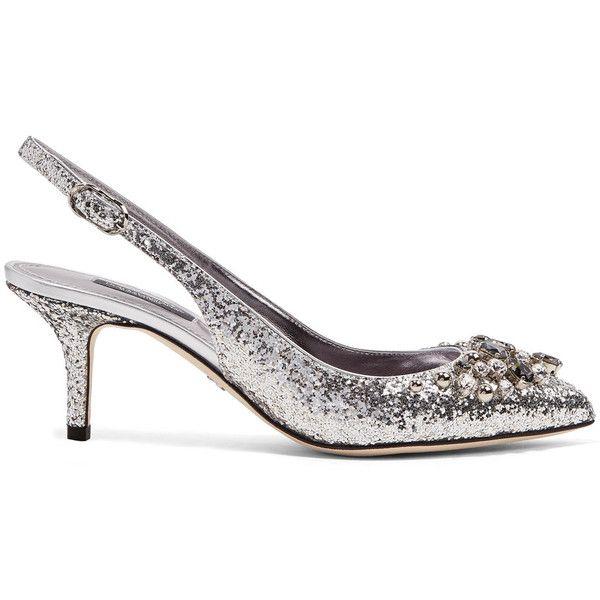 Dolce & Gabbana Crystal-embellished glittered leather slingback pumps (€930) ❤ liked on Polyvore featuring shoes, pumps, mid-heel pumps, slingback shoes, kitten heel slingback shoes, kitten heel pumps and evening pumps