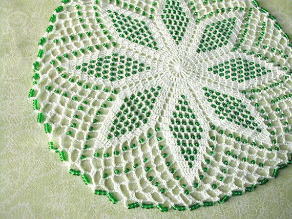 White crochet lace doily / center piece with green glass beads