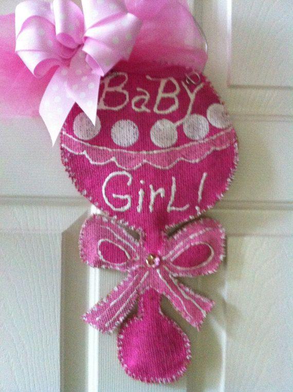 Baby Burlap Door Hanger by 2CreativeGirls on Etsy, $25.00