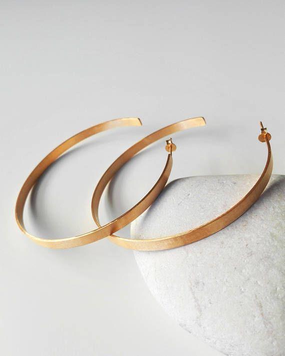 Thic Gold Hoop Earrings Brass Earrings Gold Plated Hoop