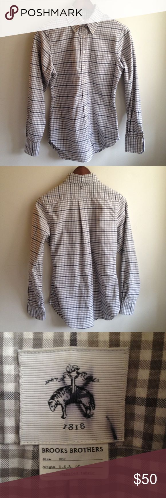 Black Fleece Women's Oxford Shirt Black Fleece by Brooks Brothers Oxford button up shirt. Size BB2 (size equivalent is US 4 or size Small), 100% cotton. Made in USA. New condition, never worn. Sample sale purchase with strike on garment tag as shown in photo. ✨ Bundle and save! Brooks Brothers Tops Button Down Shirts