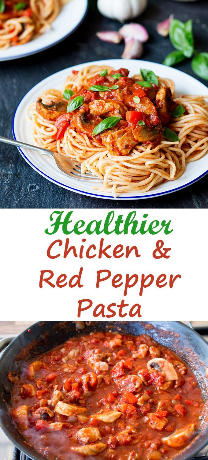 Healthier chicken and red pepper pasta - less than 550 cals per serving. Syn free on Slimming world extra easy!