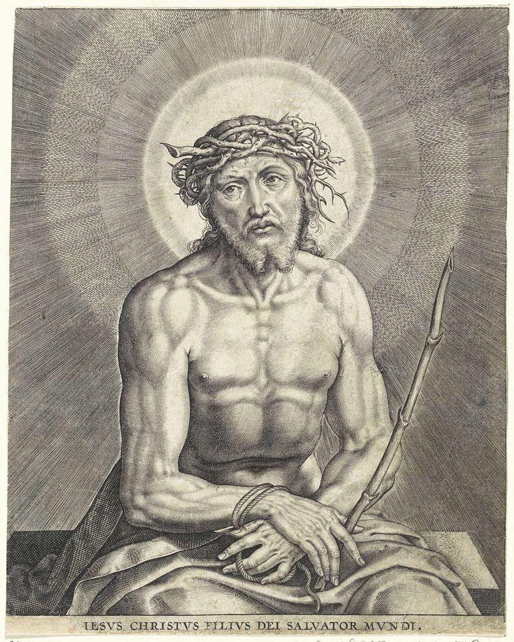 Christus met doornenkroon (Ecce Homo), Hieronymus Wierix, 1563 - voor 1612