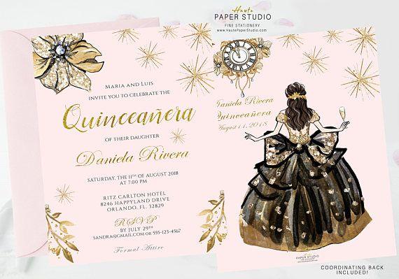 Quinceanera Invitation, Quinceanera Invite, Blush Gold Quinceanera, Sweet 16 Birthday, Princess Invitation, Custom Invitation, BDQ002