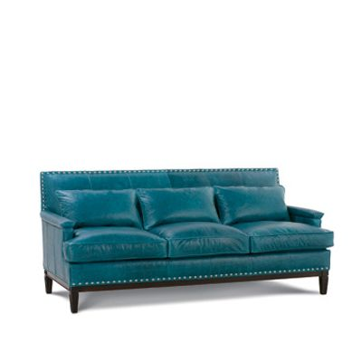 Simone Sofa By Robin Bruce. Shown In Leather Bracciano Teal, ZL101 67.