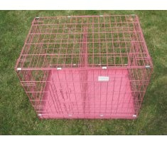 "Pink 24"" Small Metal Puppy Dog Crate -  with a little floor mat and a few toys, Poppy's travels will be as comfortable and safe as possible.  It had to be pink though...right?"