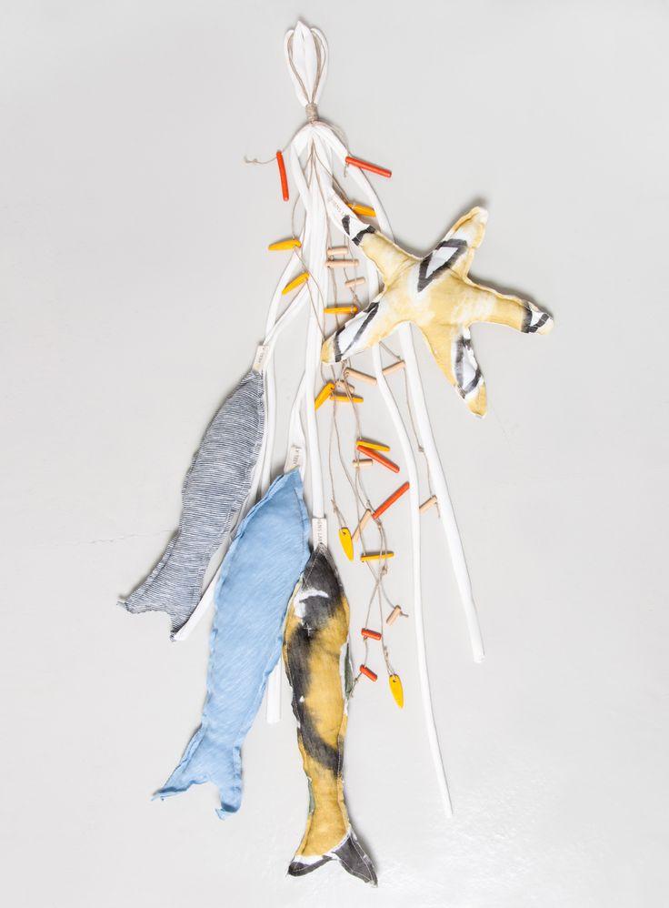 Handmade Wall Decoration 'Fish'.  100% Organic Cotton.  #heelathenslab #heelathens #heelhome #handpainted #fishdecor #islandstyle #handmade #handmadedecor #decor #walldecoration #organiccotton #weloveorganic #organicotton #inspiredbynature #madeingreece