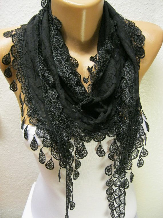 Black Scarf with Trim Edge Black Scarf gift scarf by MebaDesign, $13.90