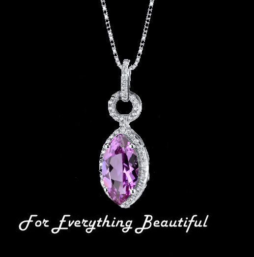 Pink Sapphire Marquise Cut Cubic Zirconia Border Sterling Silver Pendant
