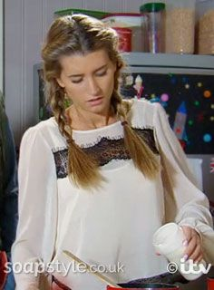 SoapStyle.co.uk - Emmerdale - Debbie Dingle Cream & Black Lace Top