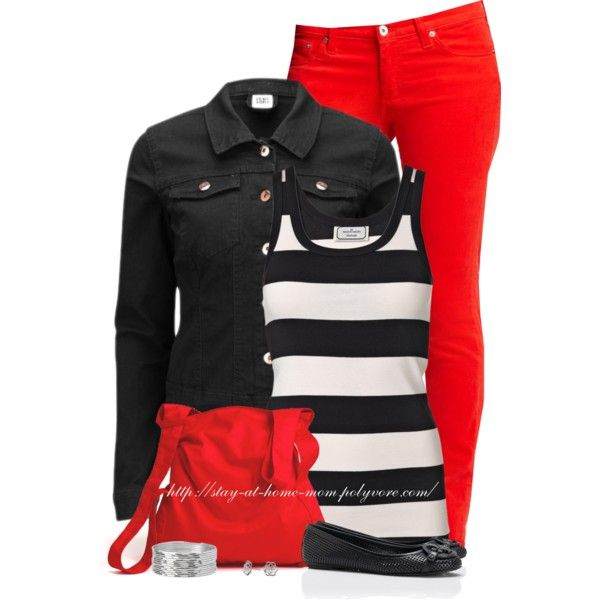 Denim Jacket & Stripes, created by stay-at-home-mom on Polyvore