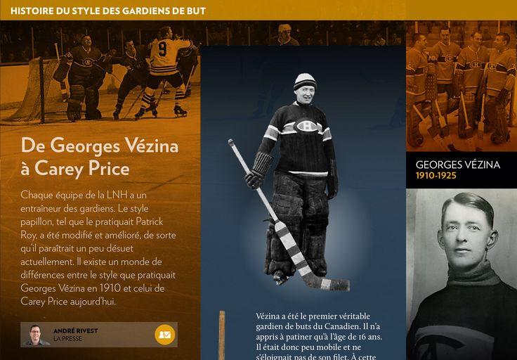 Histoire des gardiens de buts au hockey publiée dans La Presse+ en 2014 - page sur Georges Vézina- History of hockey goalies