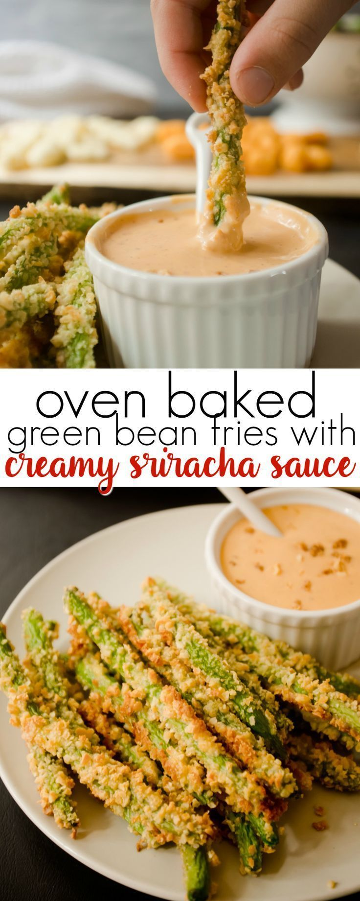 These Oven Baked Green Bean Fries take only 15 minutes to make and are served with a Creamy Sriracha Dipping Sauce!