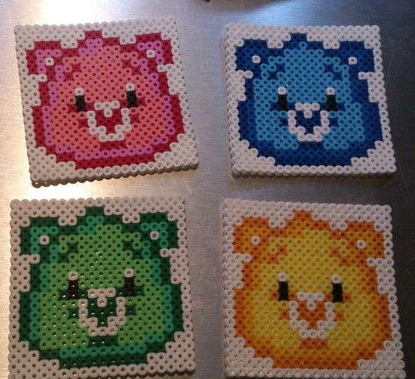 Care Bears coasters hama perler beads by Sonja Ahacarne
