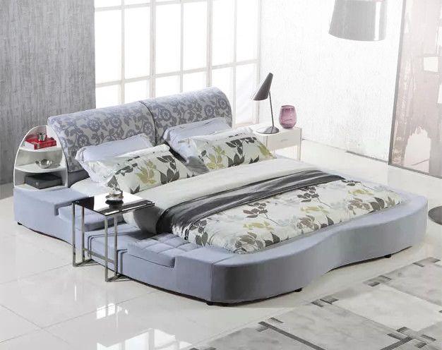 pink brown khaki big modern fabric soft bed contemporary bedroom furniture China tatami ottoman storage corner
