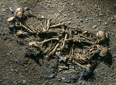 A photo provided by Germany's Landesamt für Denkmalpflege und Archäologie Sachsen-Anhalt shows four skeletons buried together in a 4,600-year-old grave. Genetic testing indicated that the remains represented a father, a mother and their two sons.  By Randolph E. SchmidSkeletons Buried, Bones, Skeletons 1116814I Jpg 620 400
