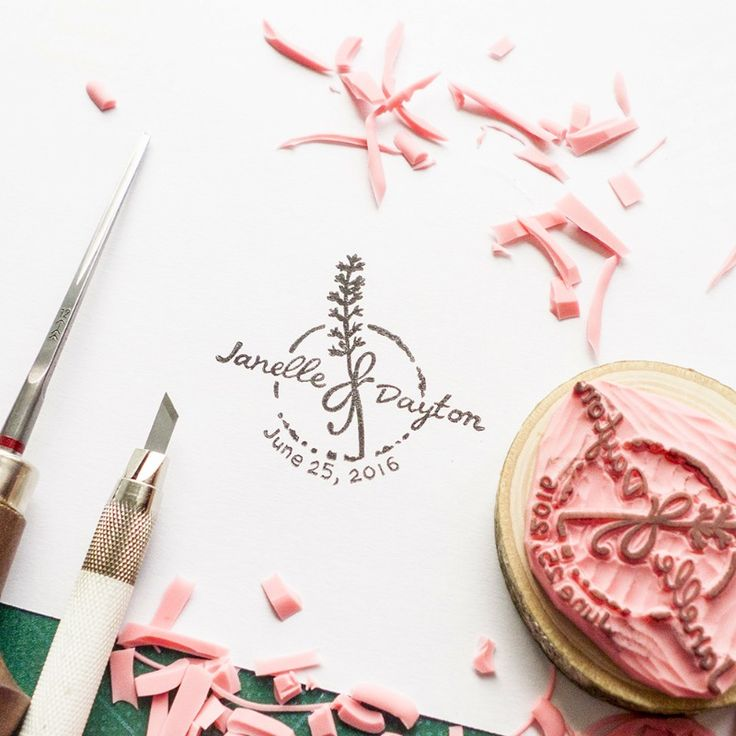 Hand-carved+rustic+lavender+stamp+for+your+wedding+stationary. See+more+here:+http://www.thisisjusttosay.co/collections/custom-stamps/products/custom-rustic-lavender-wedding-stamp