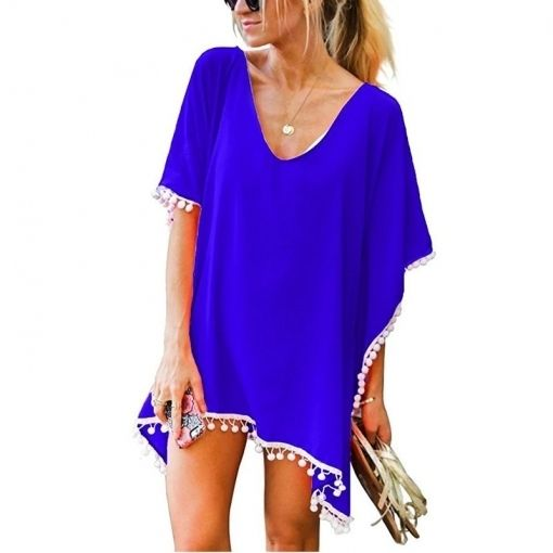 Summer Women Chiffon Tassels Cover Up Swimwear New Solid loose Swimsuit Beach Dr…